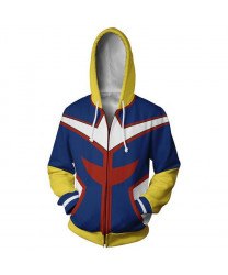 My Hero Academia Casual Zipper Hoodie Sweatshirt All Might 3D Printing