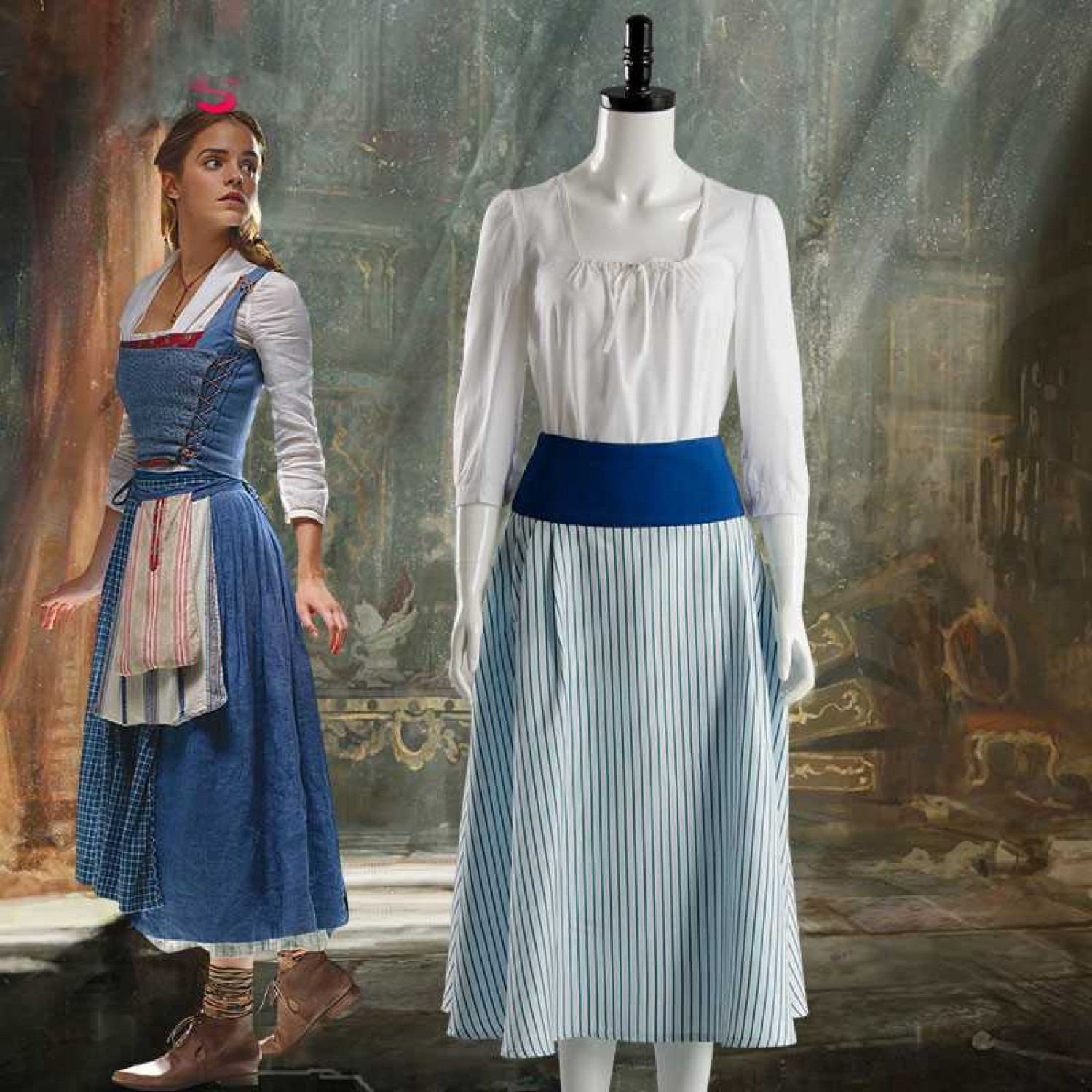 Beauty And The Beast Movie Belle Emma Watson Maid Dress Cosplay Costume