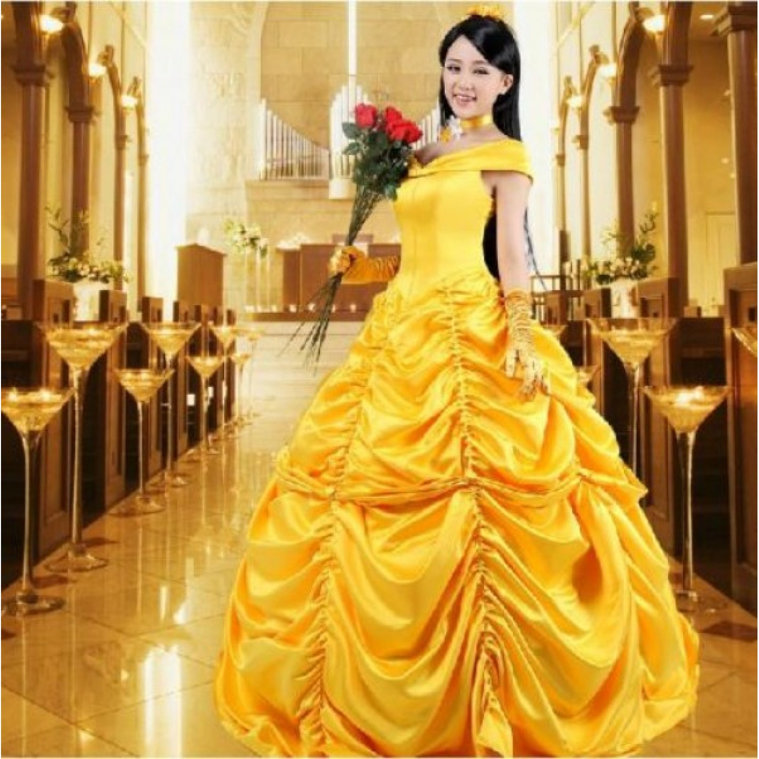 Beauty And The Beast Belle Dress Ball Gown Cosplay Costume