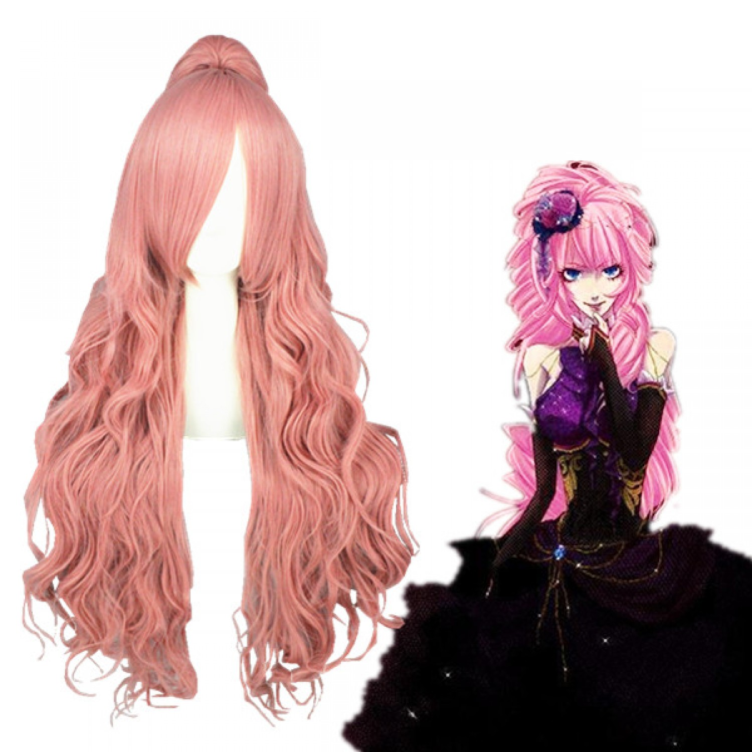 Vocaloid Megurine Luka Long Curly Pink Cosplay Wig