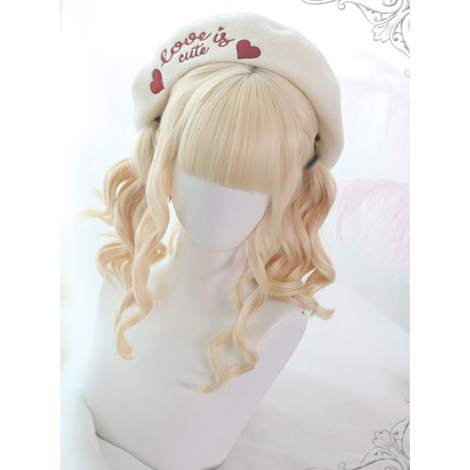 Sweet Lolita Wig Blonde Long Curly Synthetic Hair Party Wig Neat Bangs