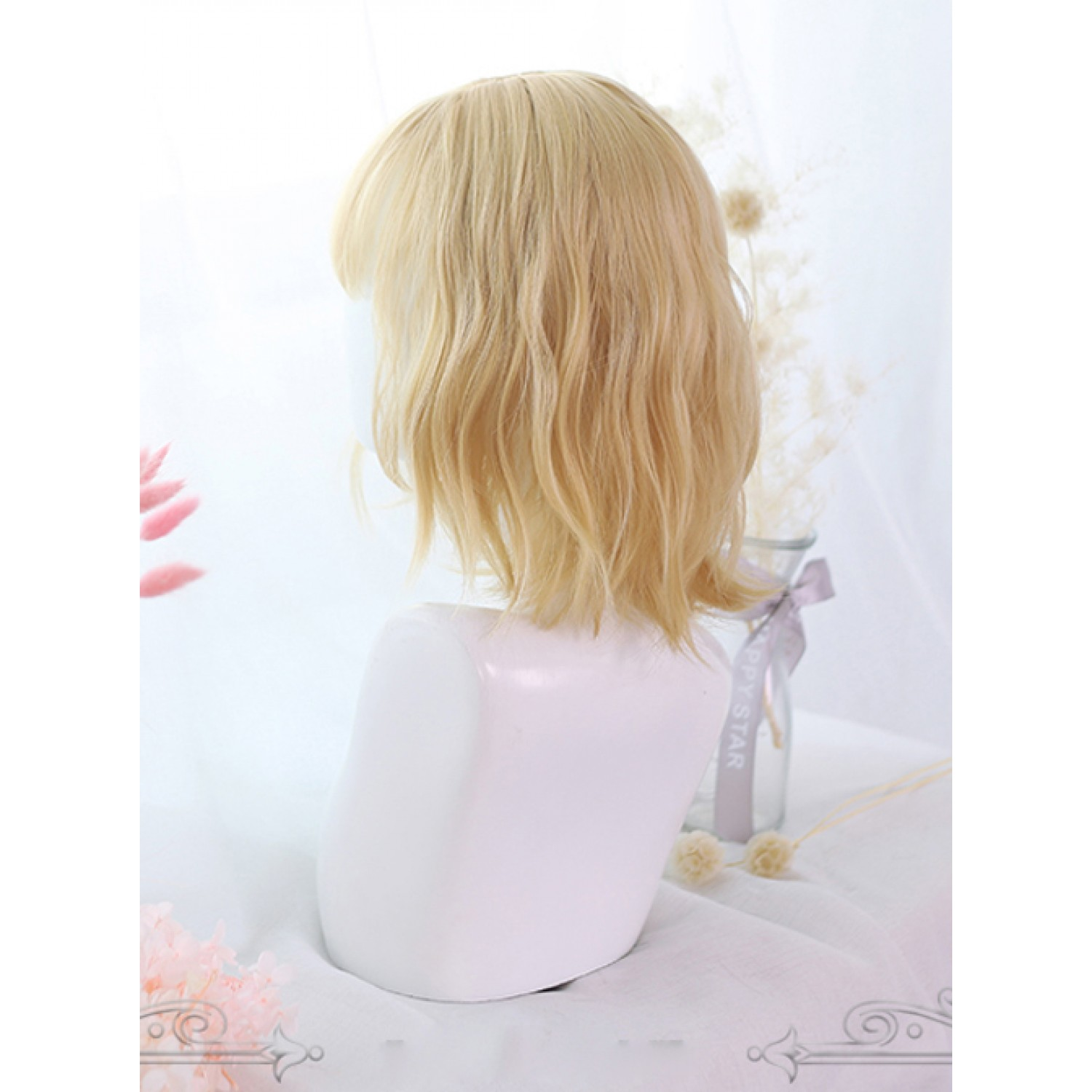 Sweet Lolita Wig Golden Short Slightly Curly Hair Synthetic Wigs