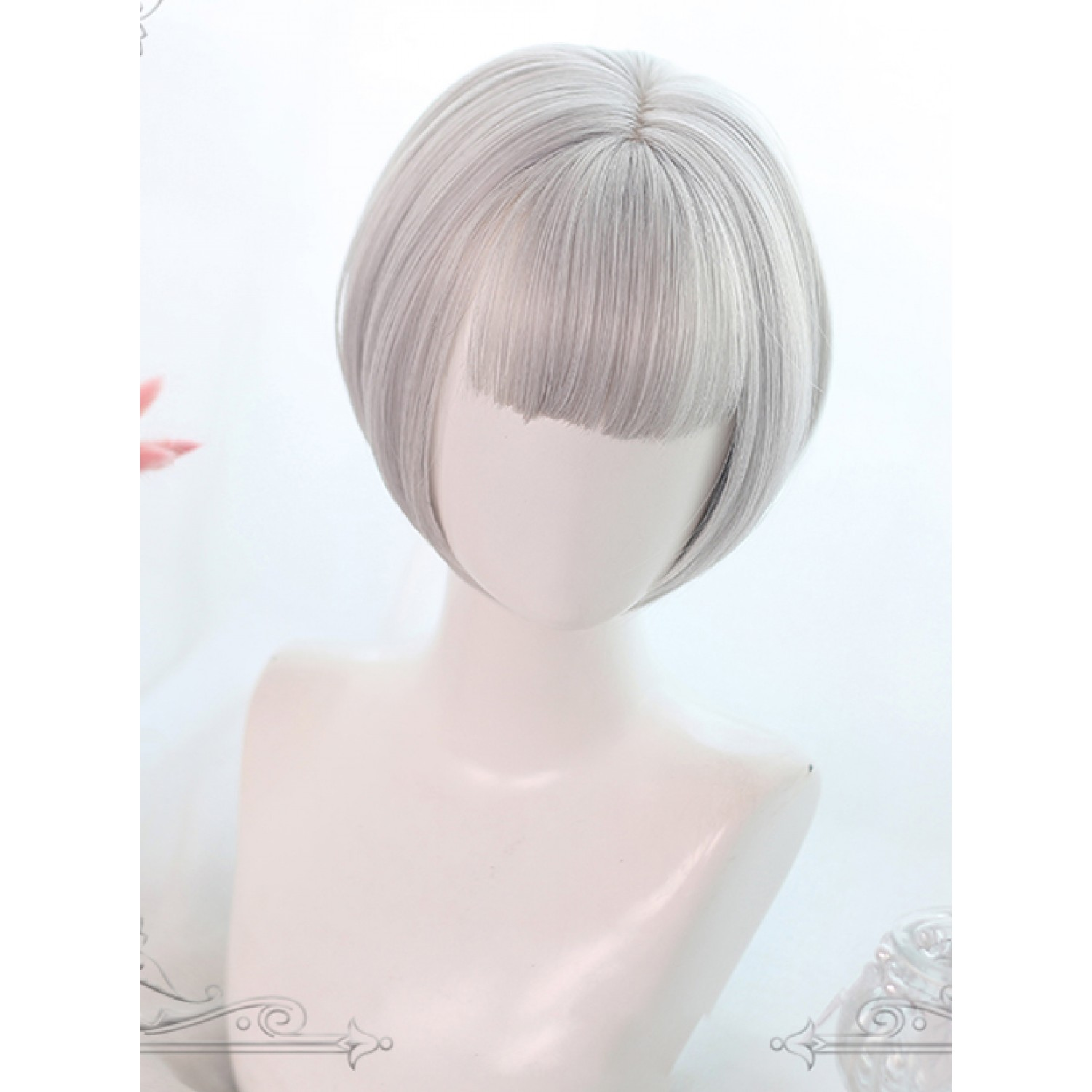 Sweet Lolita Wig Gray Long Curly Synthetic Hair Gray Dual Horsetail Wig