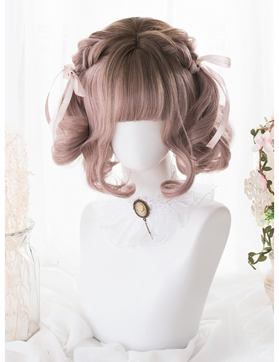 Elegant Classic Lolita Wigs Short Mixed Color Dyed Gradient Bob Party Wig