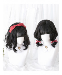 Classic Lolita Wig Black Short Curly Synthetic Hair Party Wig Air Bangs