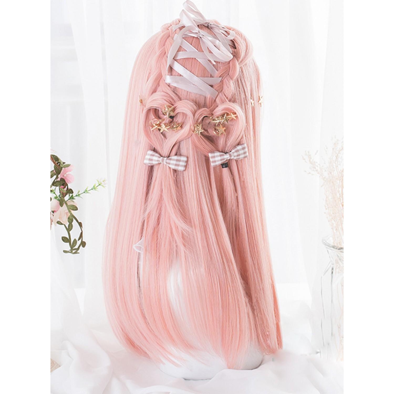 Sweet Lolita Wig Hime Cut Pink Long Straight Hair Wigs Air Bangs