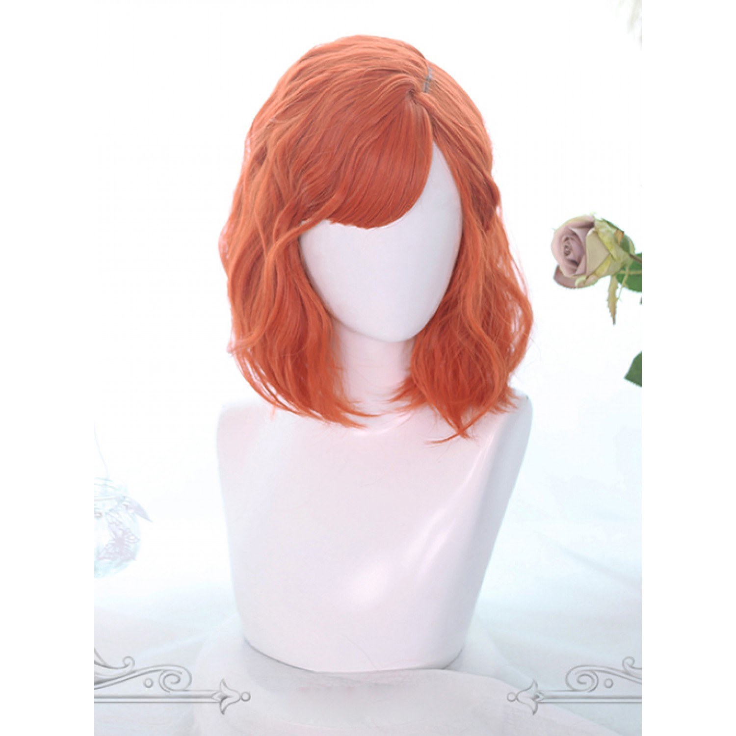 Sweet Lolita Wig Orange Medium Curly Bob Hair Party Wig Air Bangs