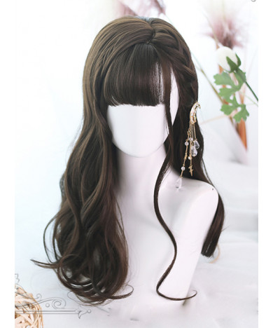 Classic Lolita Wig Brown Long Curly Synthetic Hair Party Wig Air Bangs