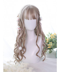Classic Lolita Wig Milk Tea Color Long Curly Synthetic Hair Party Wigs