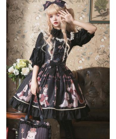 Classic Lolita Sling Dress Light Coronation Bear Series JSK Chiffon Party Dress