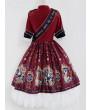 Winter Lolita Dress Light Blue Long Sleeve The Gallery Series OP Printing Dress