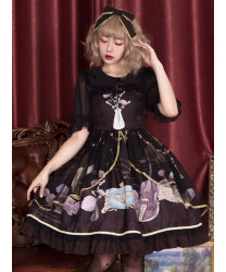 Classic Lolita Sling Dress Old Time Dream Series Retro Printing JSK Lolita Dress