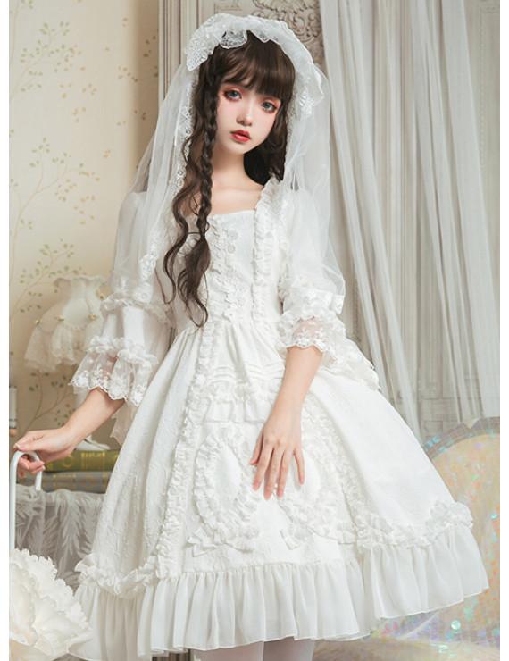 Classic Lolita Wedding Dress Pure White Retro Gorgeous Three Quarter Sleeve White Dress