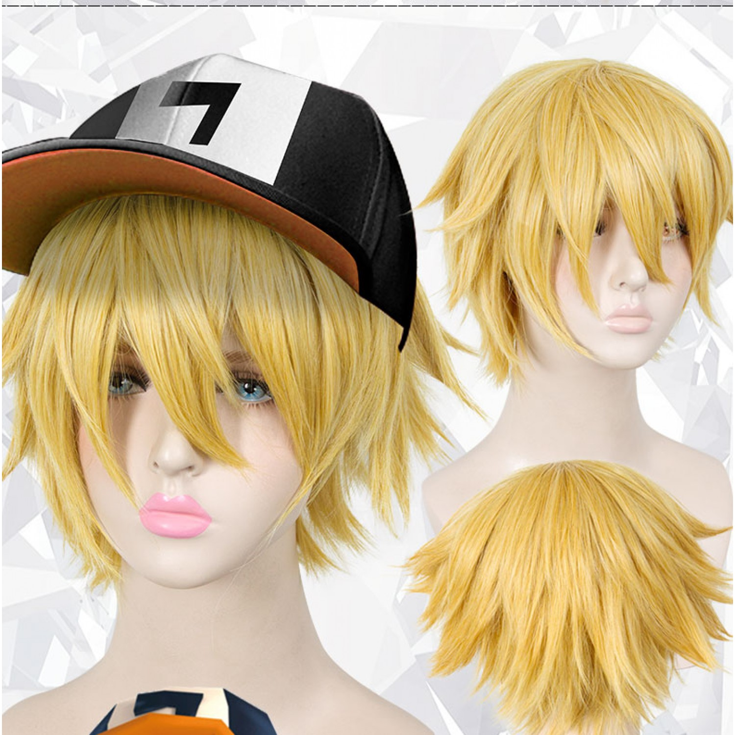 Aotu World King Short Golden Synthetic Cosplay Hair Wig