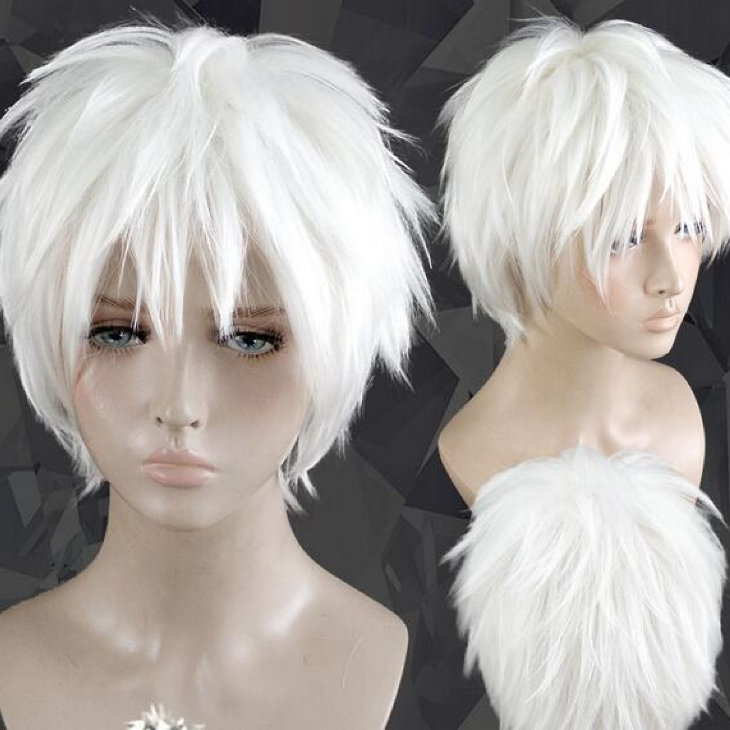 Aotu World Silver White Short Synthetic Hair Cosplay Wig