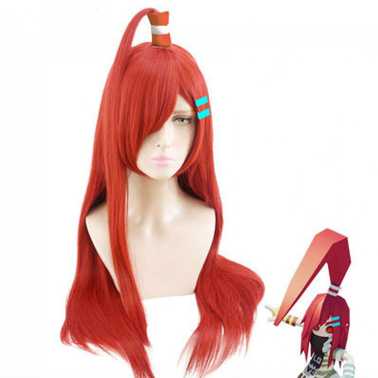 Aotu World Abby Red Long Straight Styled Synthetic Hair Cosplay Wig