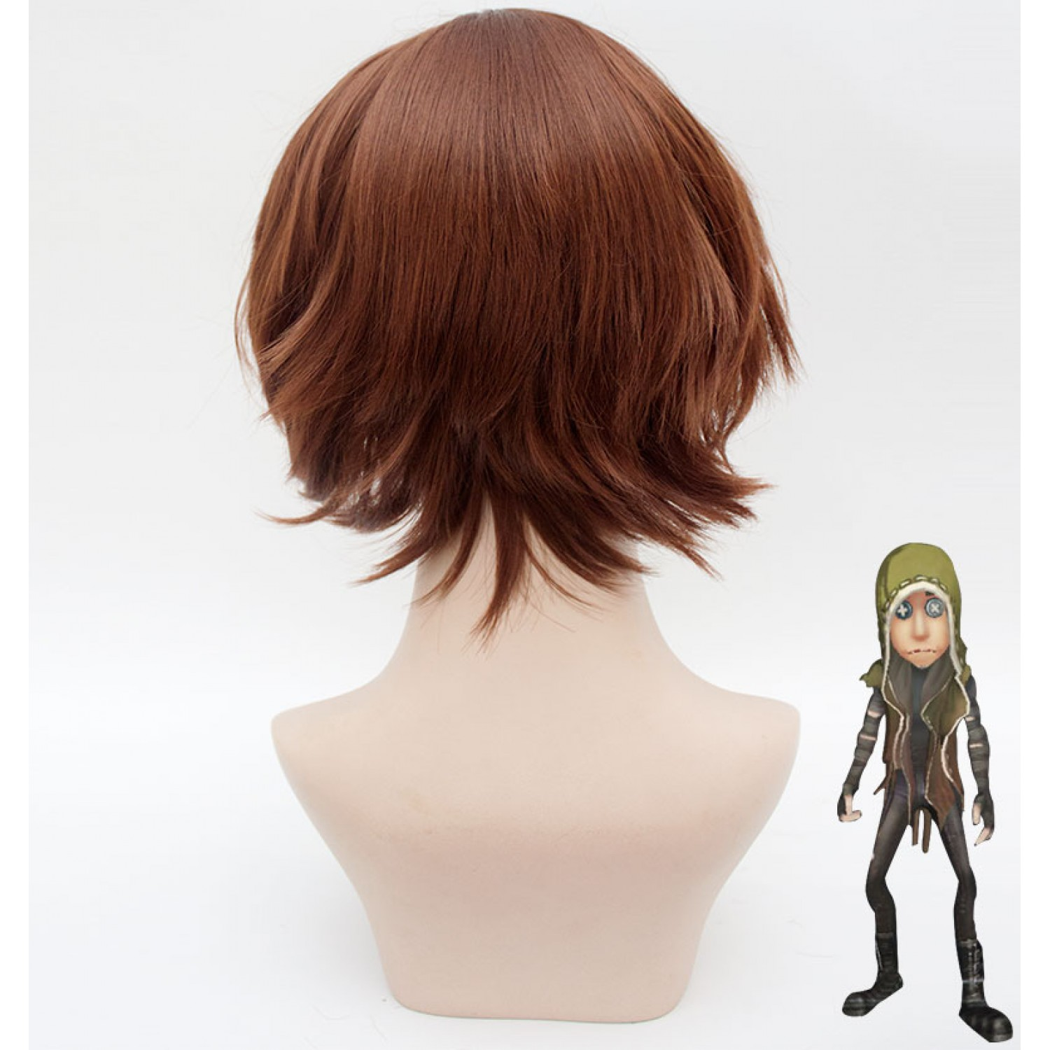 Identity V Naib Subedar Red Short Curly Synthetic Hair Cosplay Wig