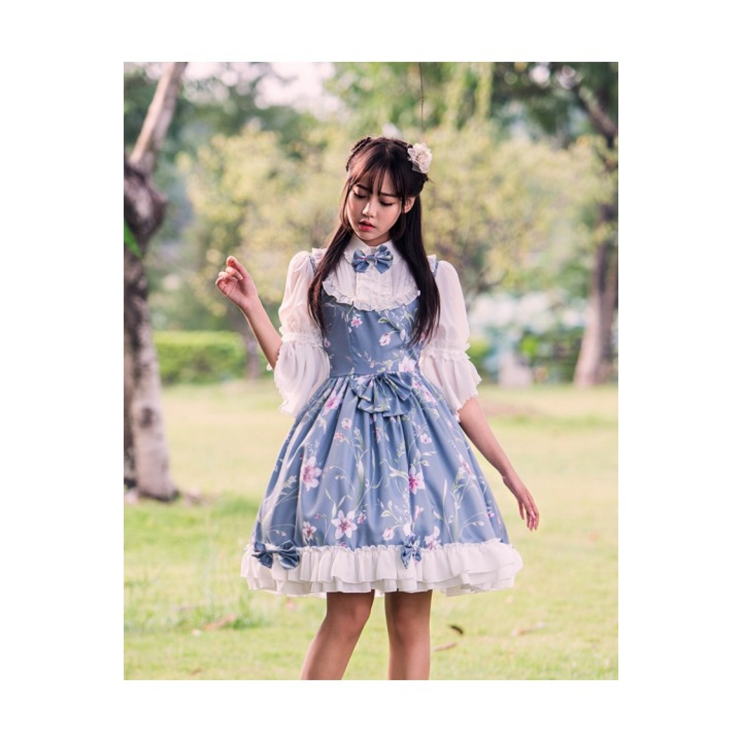 Sweet Chinese Style Printed Lolita Dress for Women