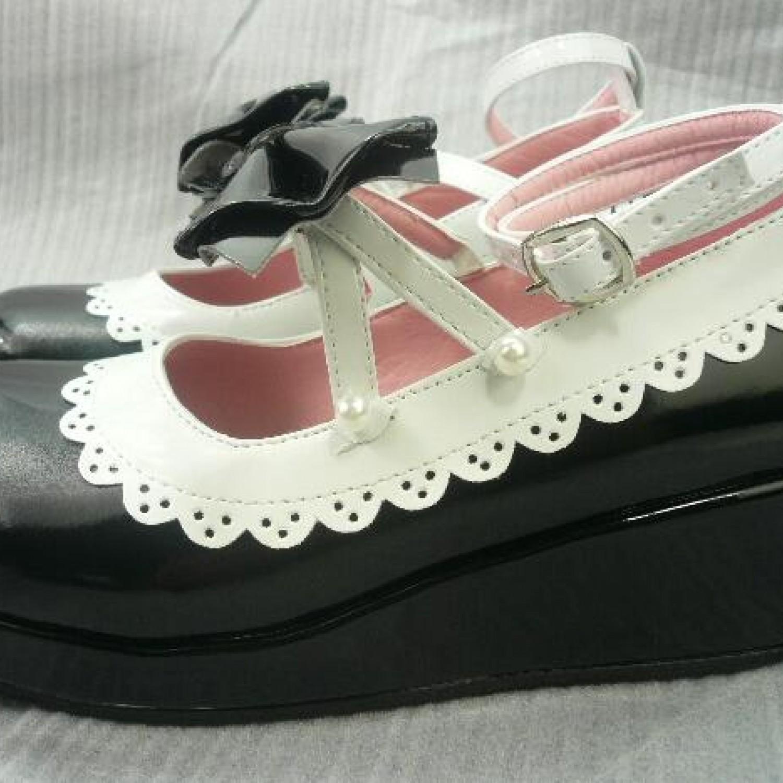 Classic Lolita Shoes Black Thick bottom cute bow princess shoes