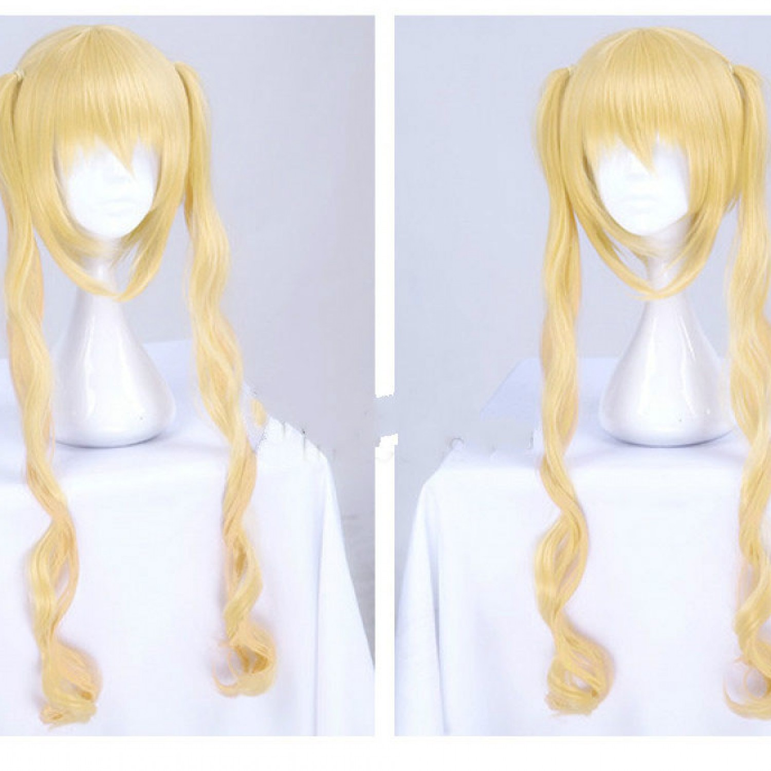 Blend S Kaho Hinata Blonde Two Ponytails Curly Cosplay Wig Heat Resistant Fiber Synthetic Hair Wigs
