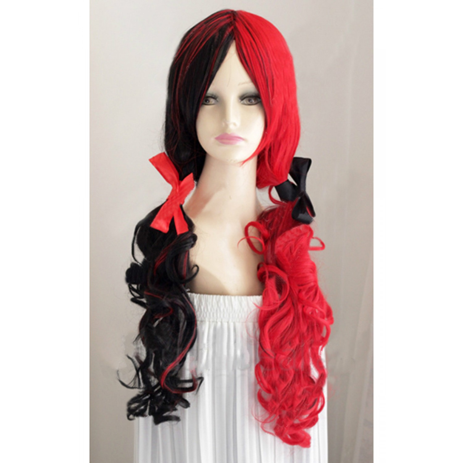 Batman Harley Quinn Wig Red and Black Synthetic Hair Party Wig