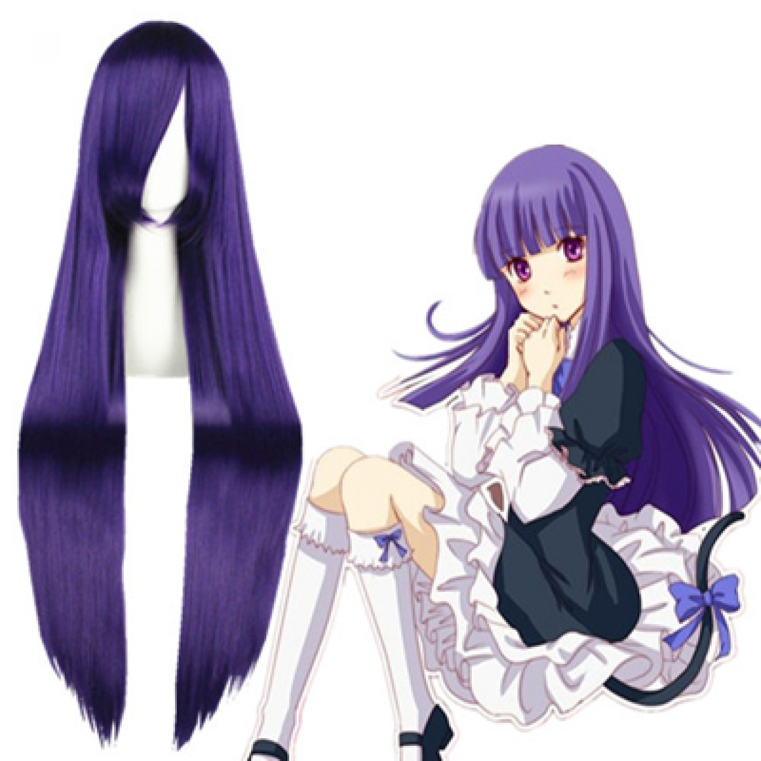 When They Cry Frederica Bernkastel Purple Long Straight Cosplay Hair Wig