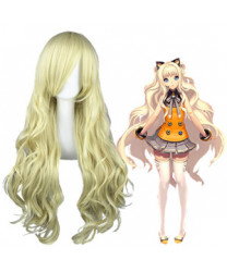Vocaloid 3 Seeu Pale Gold Long Curly Synthetic Hair Cosplay Wig