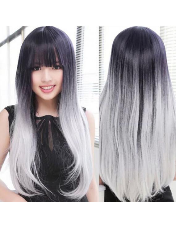 Lolita Daily Wig Black silvery Long Straight Lolita Gradient Wig