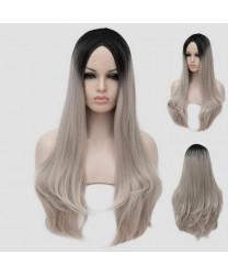 Lolita Daily Wig Black silvery Long Curly Lolita Gradient Wig