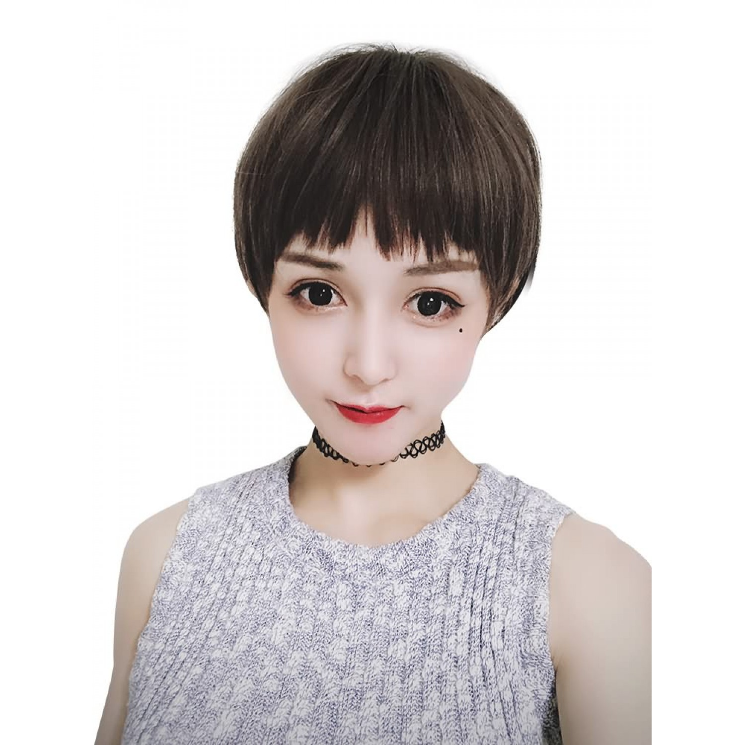 Mens Green Wood Dog Bite Liuhai Short Hair Shaved Face Fluffy Net Red Popular Wig