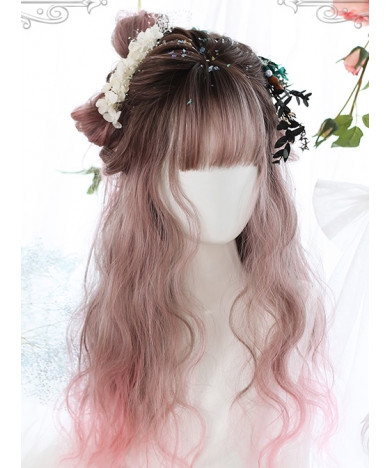Classic Lolita Wig Meidum Length Roman Curly hair Cosplay Wig With Neat Bang