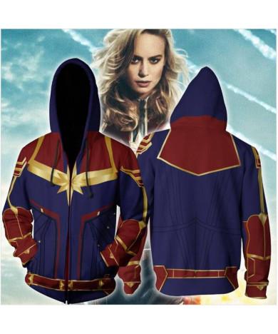 Avengers 4 Captain Marvel Carol Danvers 3D Sweatshirt Zip-Up Hoodie
