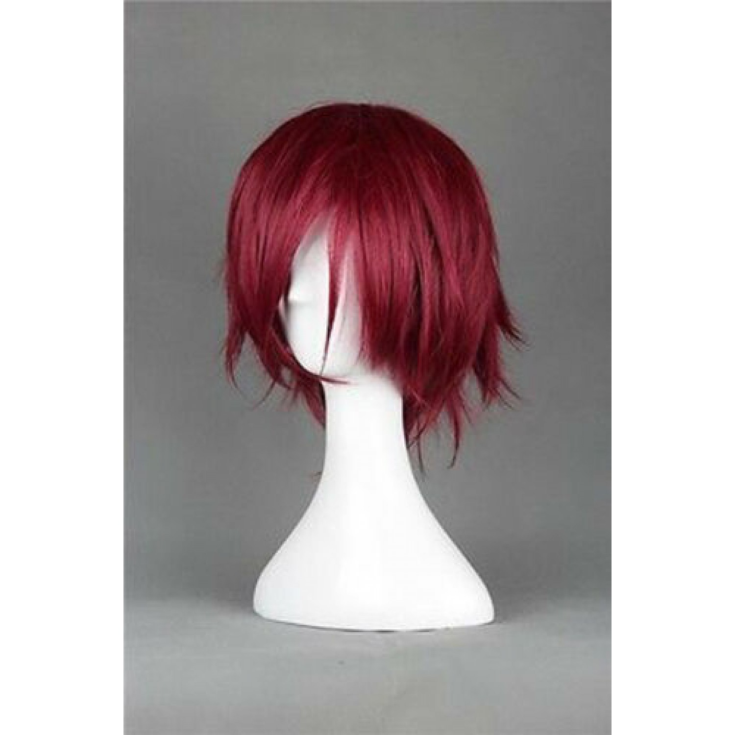 Free! Matsuoka Rin Wine Red Short Anime Cosplay Wig