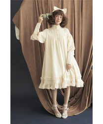 Standing Collar Long Sleeves Vintage Unicolor Babydoll Style Lolita Dress