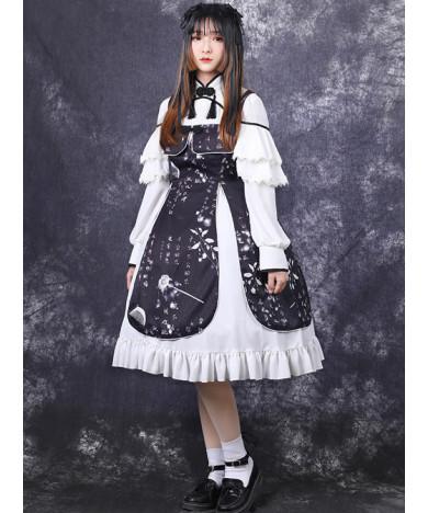 Chinese Style Black Printing Classic Lolita White Long Sleeve Dress