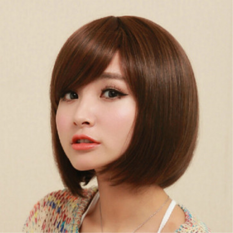 Heat Resistant Fiber Black Brown Short Straight Bob Lolita Wig