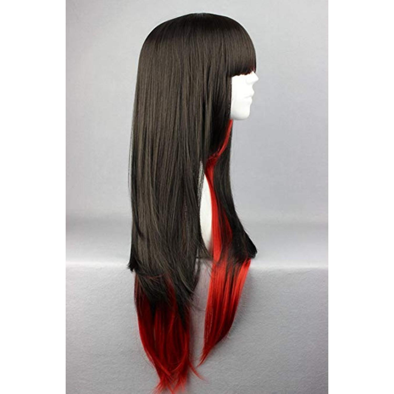 Black Red Long Straight Heat Resistant Fiber Sweet Lolita Wig