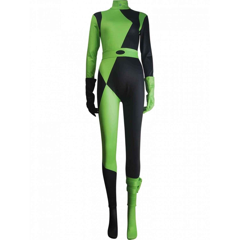 Kim Possible Shego Super Villain Cosplay Costume Jumpsuit Halloween Costume Superhero Cosplay