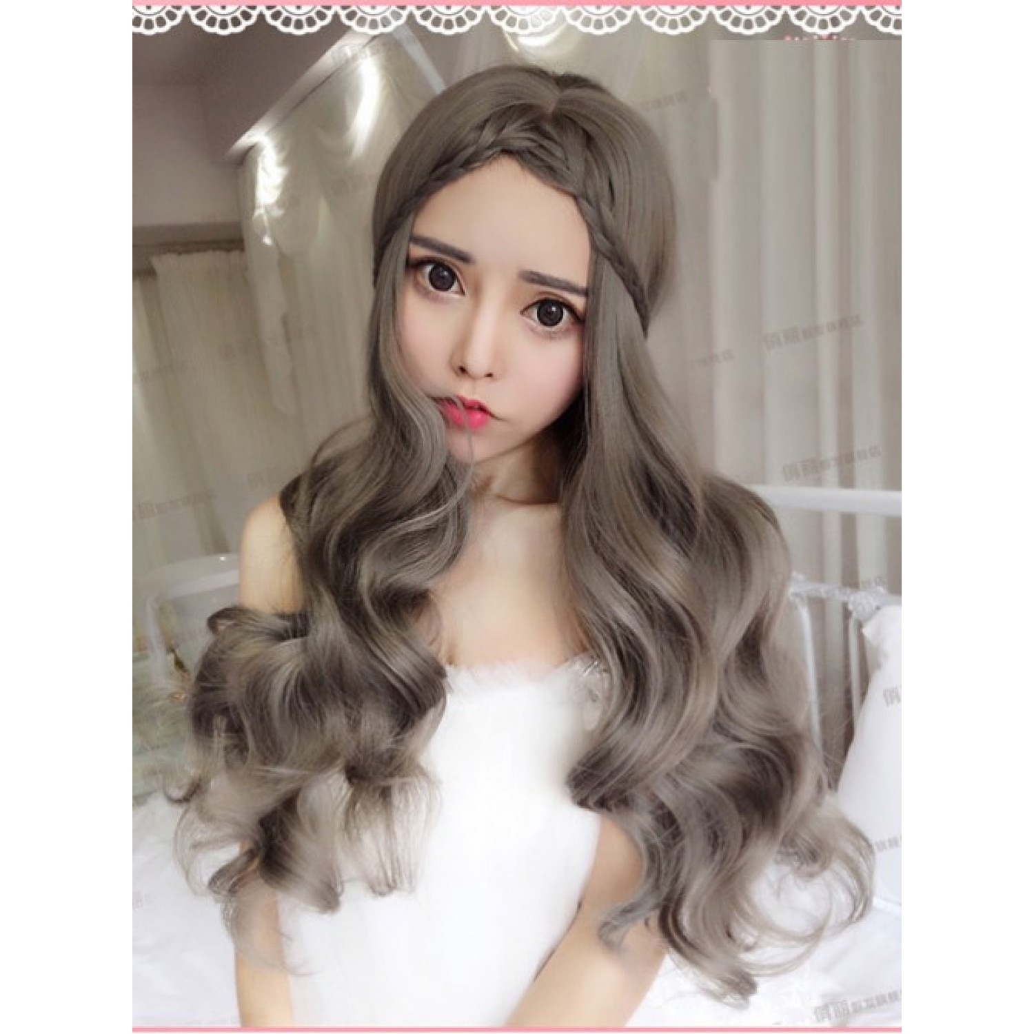 Aoki Gridelin Long Curly Lolita Wig with Centre Parting Bangs