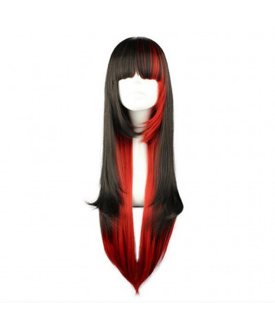 Black and Red Mixed Color Long Straight Hair Lolita Wig