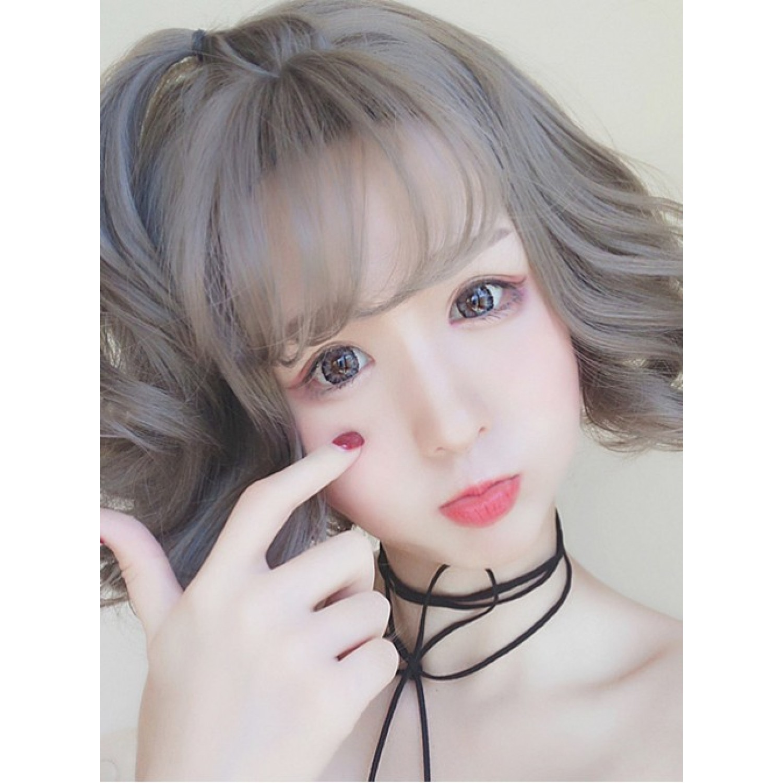 Grey Small Waves Short Curly Hair Harajuku Style Lolita Wig