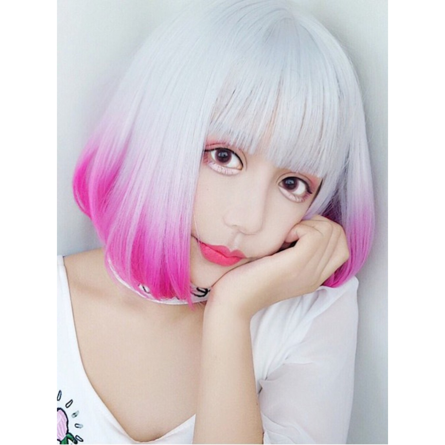 Silver Pink Gradient Haircut Short Curly Hair Lolita Wig