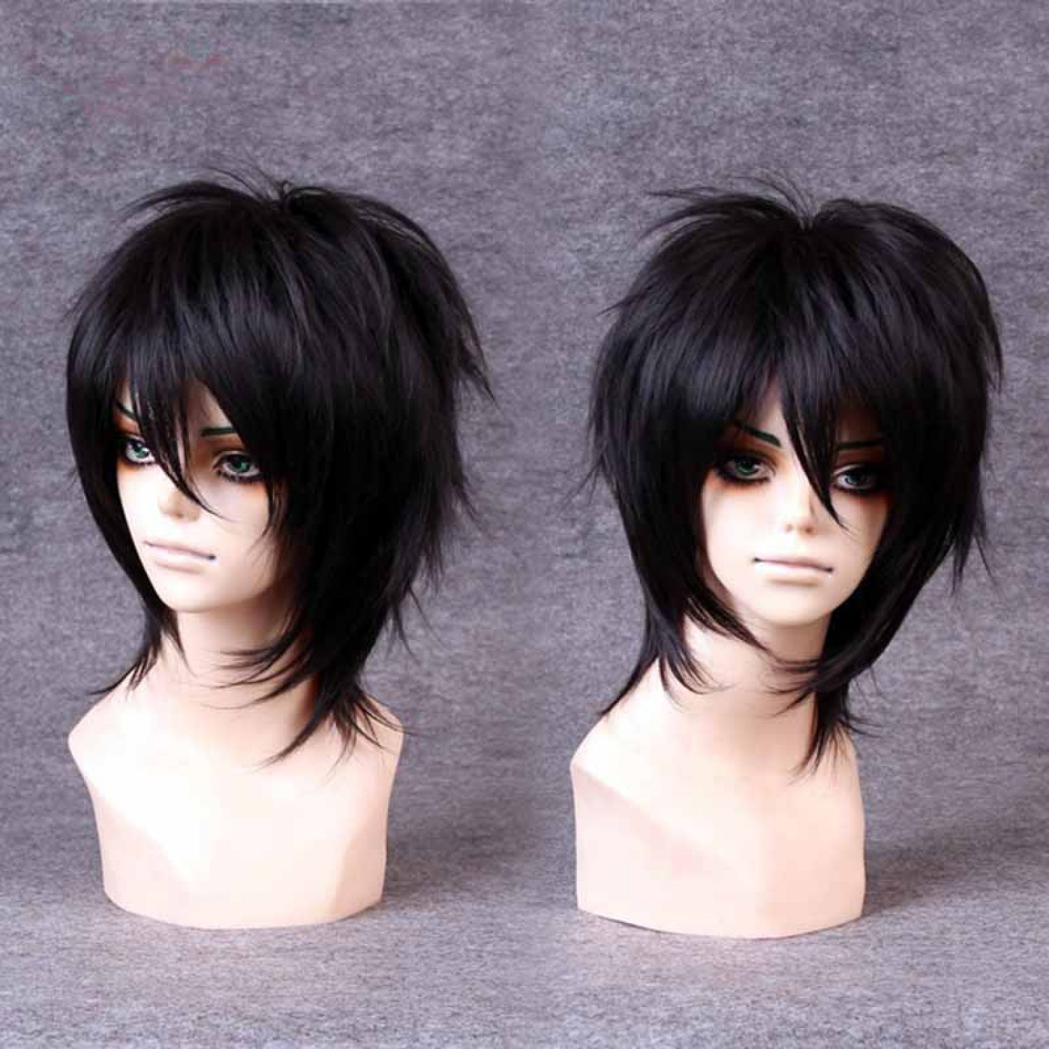 Black Short Layered Straight Heat Resistant Fiber Lolita Wig