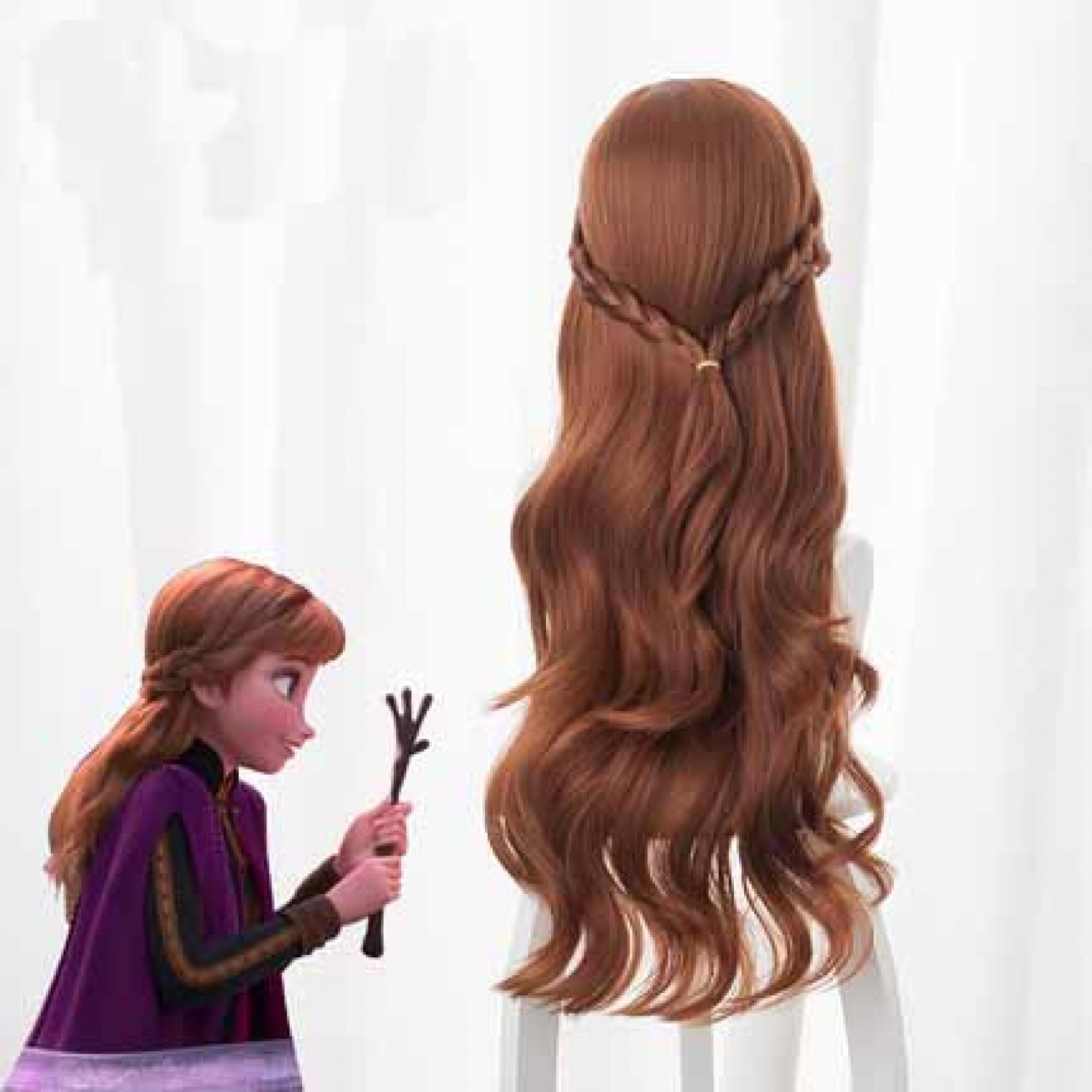Frozen 2 Princess Anna Brown Long Curly Cosplay Wig