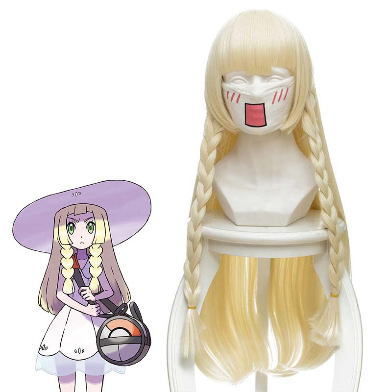 Pokemon Lillie Blonde Long Cosplay Wig