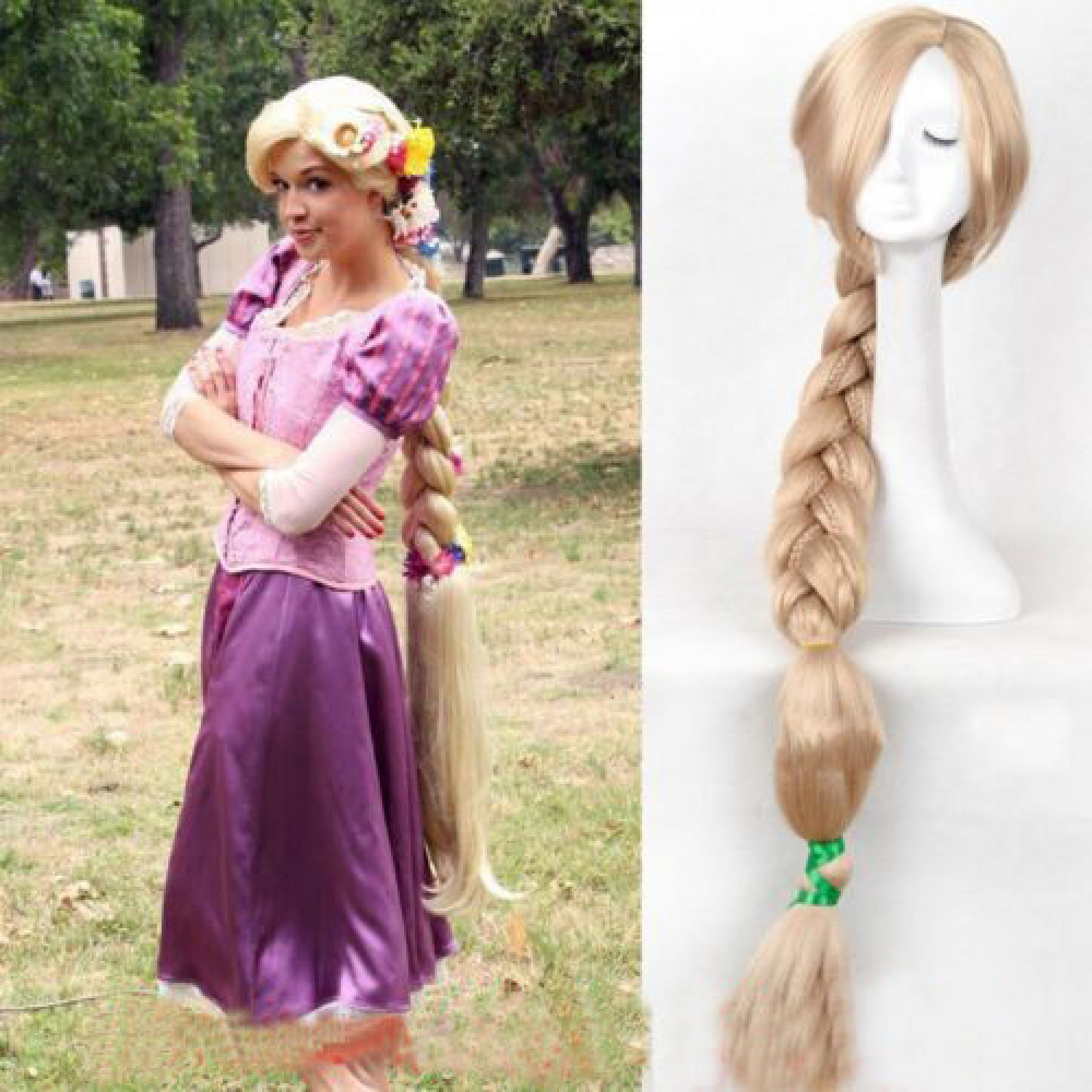 Tangled Princess Rapunzel Long Braid Anime Style Synthetic Cosplay Full Wig