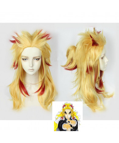 Demon Slayer Kimetsu no Yaiba Kyojuro Rengoku Cosplay Wig