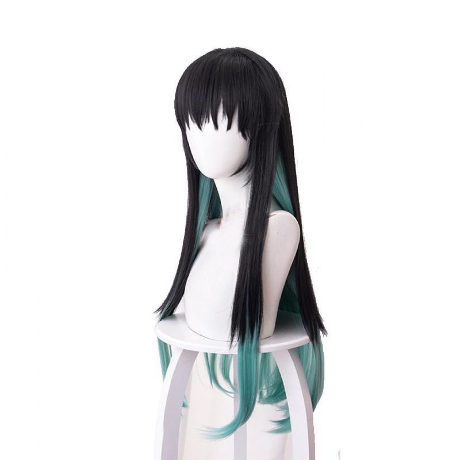 Demon Slayer Antarcticite Cosplay Wig Green Mixed Black ...