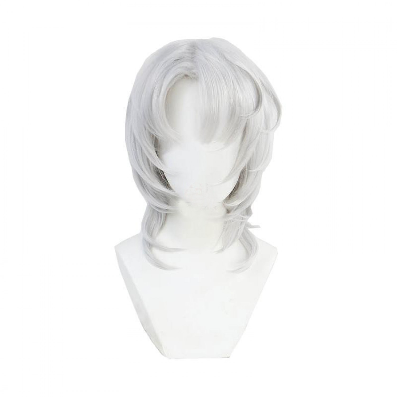 Demon Slayer Rui Long Curly Silver Cosplay Hair Wigs