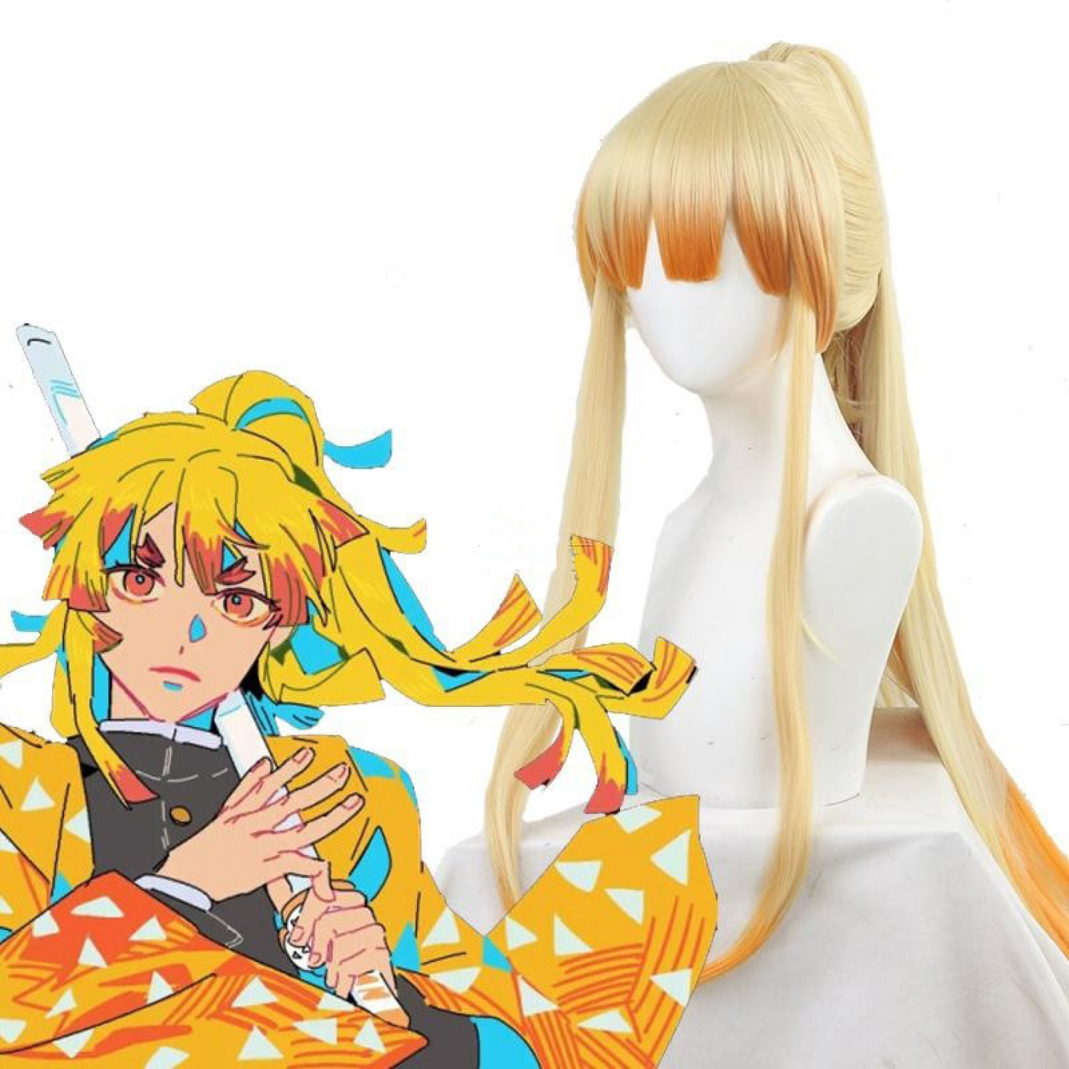 Demon Slayer Zenitsu Agatsuma Long Blonde Anime Cosplay Wig